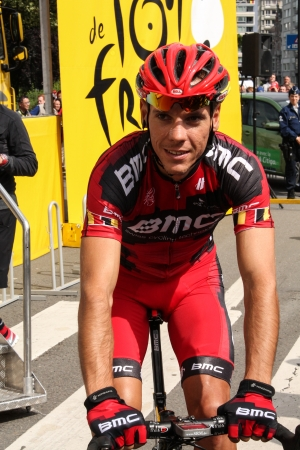 gilbert: Liege, Belgium - July 1, 2012 - Philippe Gilbert leaving the signing stage with his bike, before the start of stage 1 Liege  Serraing at Tour the France 2012