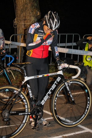 can't: WOERDEN, THE NETHERLANDS - OCTOBER 23, 2012 - CYCLOCROSS RIDER SANNE CANT OF BELGIUM AT THE START OF THE NACHT VAN WOERDEN
