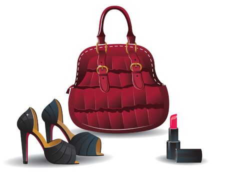 Bag, shoes, and lipstick  Fashion female accessories Vector