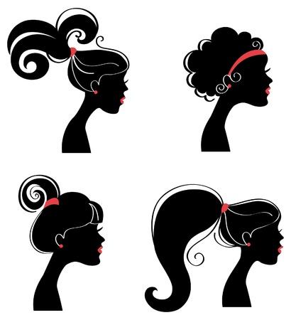 black hair style: Beautiful women silhouettes