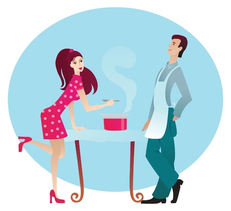 happy healthy woman: Boy and girl in the kitchen  Illustration