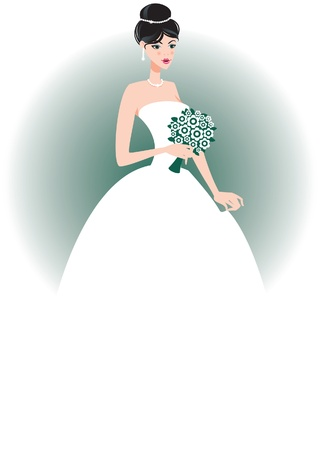 cartoon bouquet: Beautiful bride