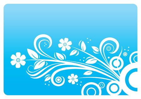 Abstract floral background in blue  Vector