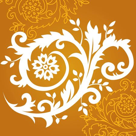 Floral ornament in gold, vector Illustration