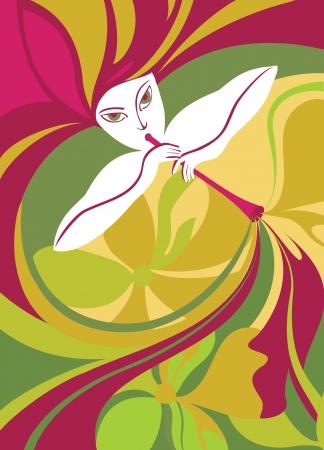 flauta: Ilustración vectorial de un jugador de tubo chica