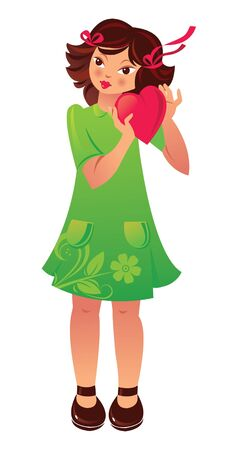little girl dress: Beautiful girl with heart