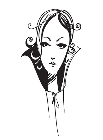 melancholic: Sketch illustration of the melancholic girl, isolated on a white background
