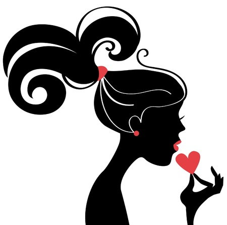 lips smile: Beautiful woman silhouette profile