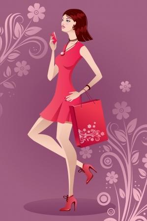 girl in red dress: Beautiful fashion girl