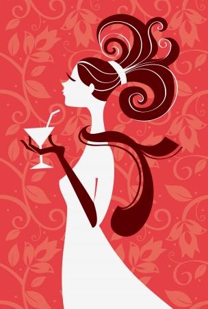 divas: Silueta de la mujer hermosa con un vaso en la mano, ilustraci�n vectorial