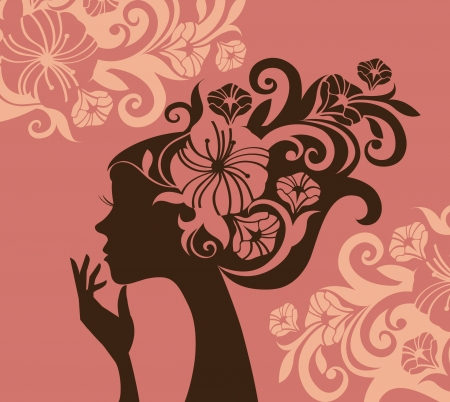 nature woman: Beautiful woman silhouette with a flowers