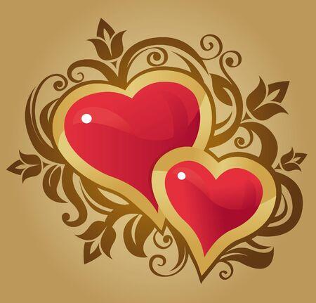 Hearts, vector illustration Stock Vector - 15821189