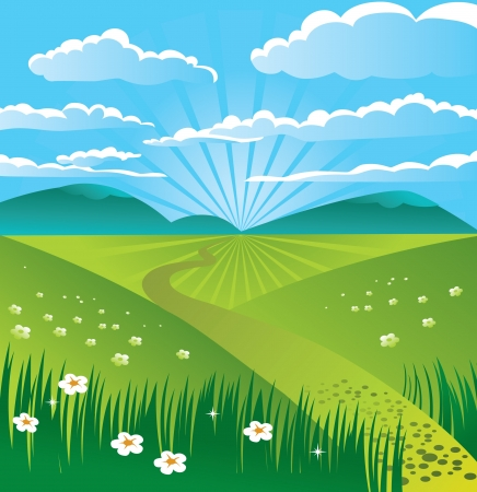 Summer landscape Stock Vector - 15821240
