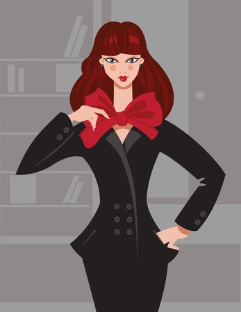 gray suit: Illustration of fashion girl in office Illustration