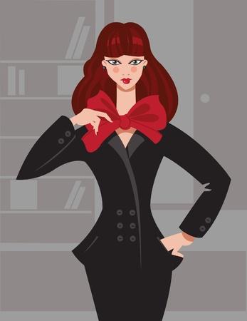 secretary office: Illustration of fashion girl in office Illustration