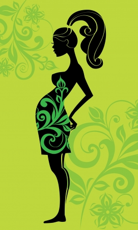 Silhouette of pregnant woman Stock Vector - 15821210