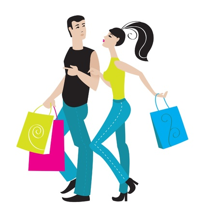 Illustration of shopping girl and boy Vector