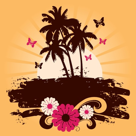 beach sunset: Summer background with palms, vector illustration