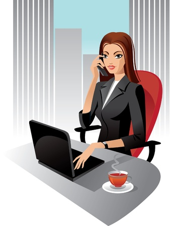 secretary skirt: Illustration of business woman in office