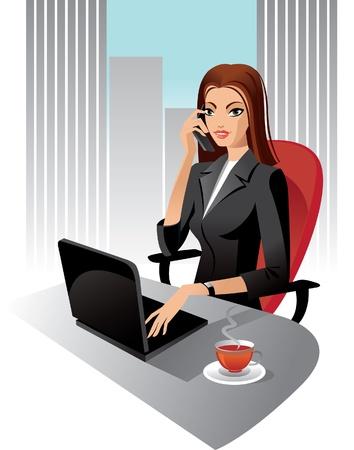 segretario: Illustrazione di donna d'affari in ufficio Vettoriali