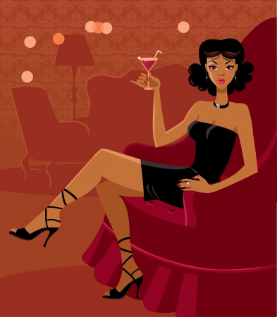 The beautiful woman in the room with a cocktail Vector