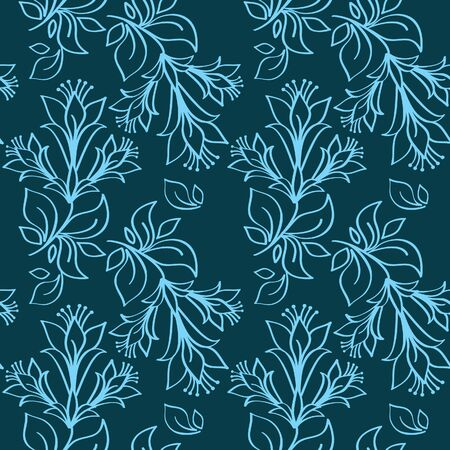 Seamless ornament in blue Vector