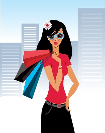 Shopaholic  Vector illustration of beautiful fashion girl and the city  Vector