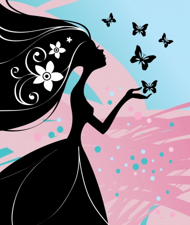 illustration of beautiful girl with butterfly  Vector