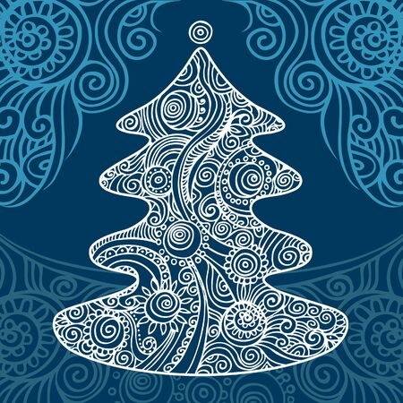 Stylish Christmas tree on beautiful background  Stock Vector - 15857961