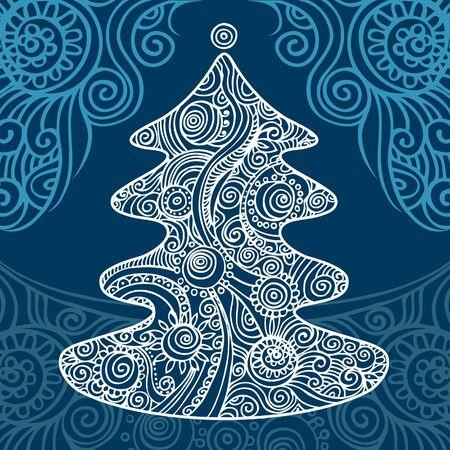 Stylish Christmas tree on beautiful background Stock Vector - 15857961
