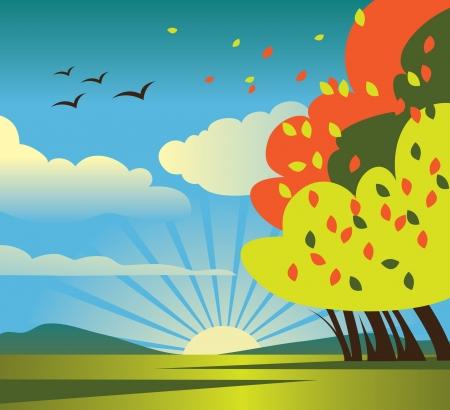 autumn scene: Autumn scenery Illustration