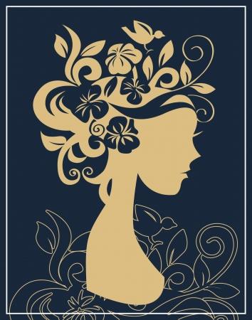 vintage portrait: Woman silhouette in flowers Illustration