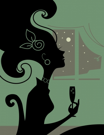 Woman silhouette in the room with a cocktail Vector
