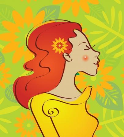 Hermosa mujer con flores