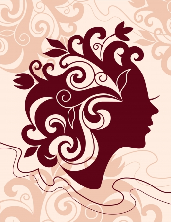 stylish hair: Beautiful woman silhouette with a flowers