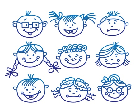 Baby cartoon faces  Illustration