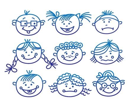 faces happy to sad: Baby cartoon faces  Illustration