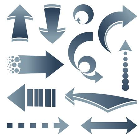 curve arrow: Set of various arrows