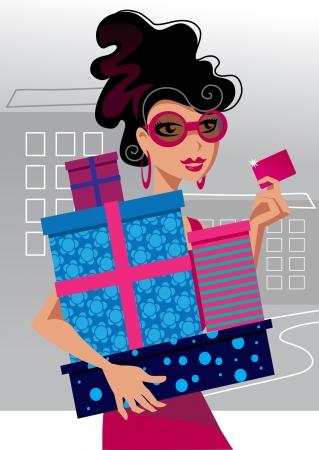 glamour shopping: Fashion shopping girl