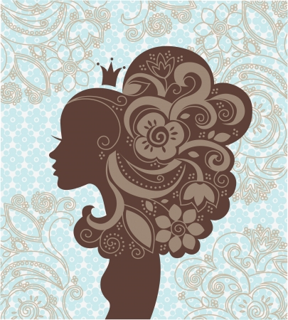 beauty queen: Beautiful woman silhouette with a flowers  Illustration