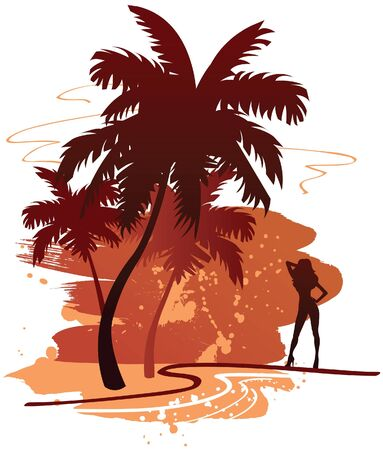 Summer backdround with palms  Vector