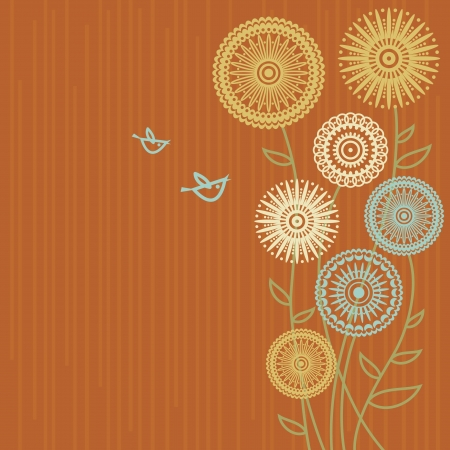 style: Floral background with cartoon birds