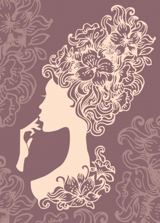 vintage portrait: Beautiful woman silhouette with a flowers  Illustration