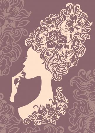 Belle silhouette de femme avec des fleurs