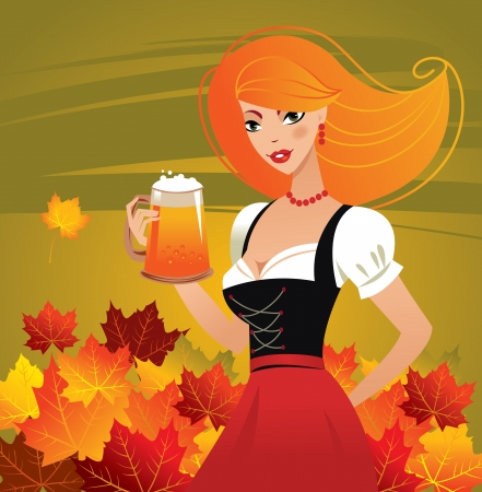 German girl serving beer on Oktoberfest Vetores