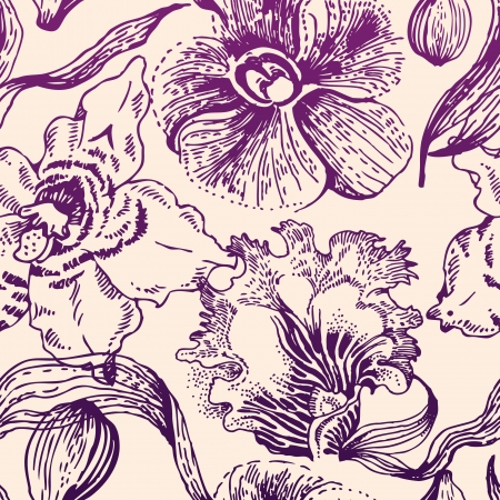soulful: Seamless floral pattern with orchid