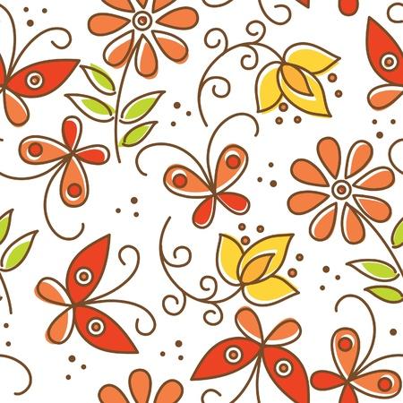 flor caricatura: Patrón floral sin fisuras con las mariposas