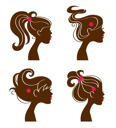 Beautiful women silhouettes Vektorové ilustrace