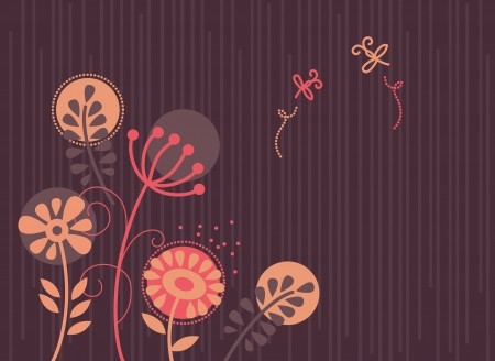 Floral background with cartoon dragonflies Stock Vector - 15858294