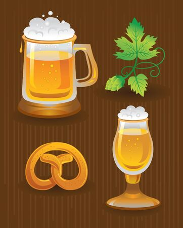 bier: Collections for Octoberfest. Beer, hops and pretzel